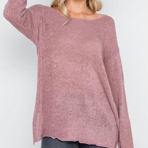 Hollywood Lightweight Knit Sweater (Dusty Pink)
