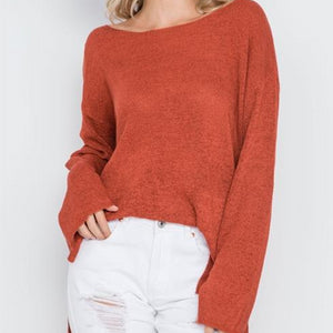 Hollywood Lightweight Knit Sweater (Rust)