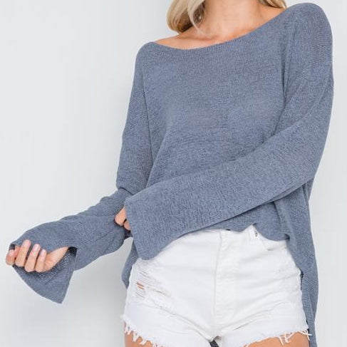 Hollywood Lightweight Knit Sweater (Blue Gray)