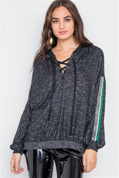 Homebody Gray Marled Striped Knit Hoodie Sweater
