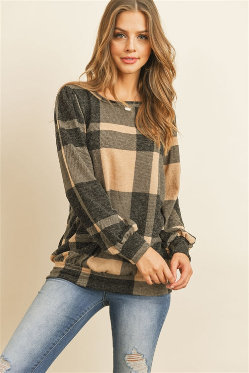Just the Classics Tan Plaid Sweater