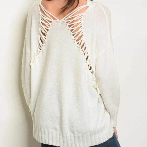Lifestyle Laced Back V Neck Sweater (Ivory)