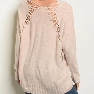 Lifestyle Laced Back V Neck Sweater (Oatmeal)