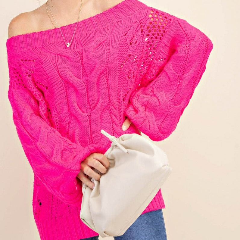 Parker Chunky Cable Knit Sweater (Pink)
