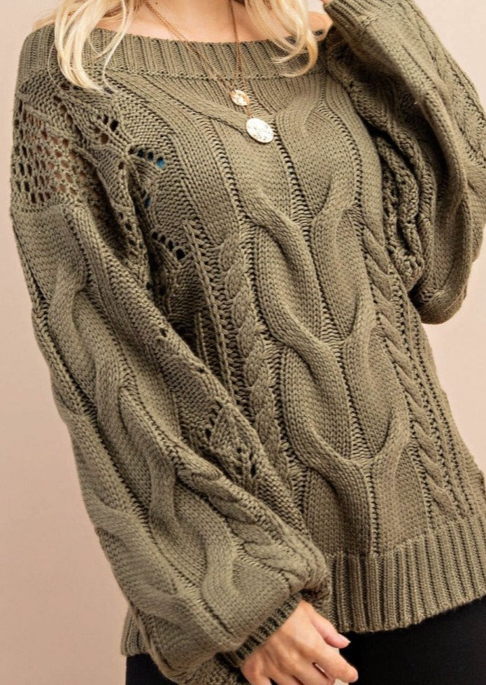 Parker Chunky Cable Knit Sweater (Olive)