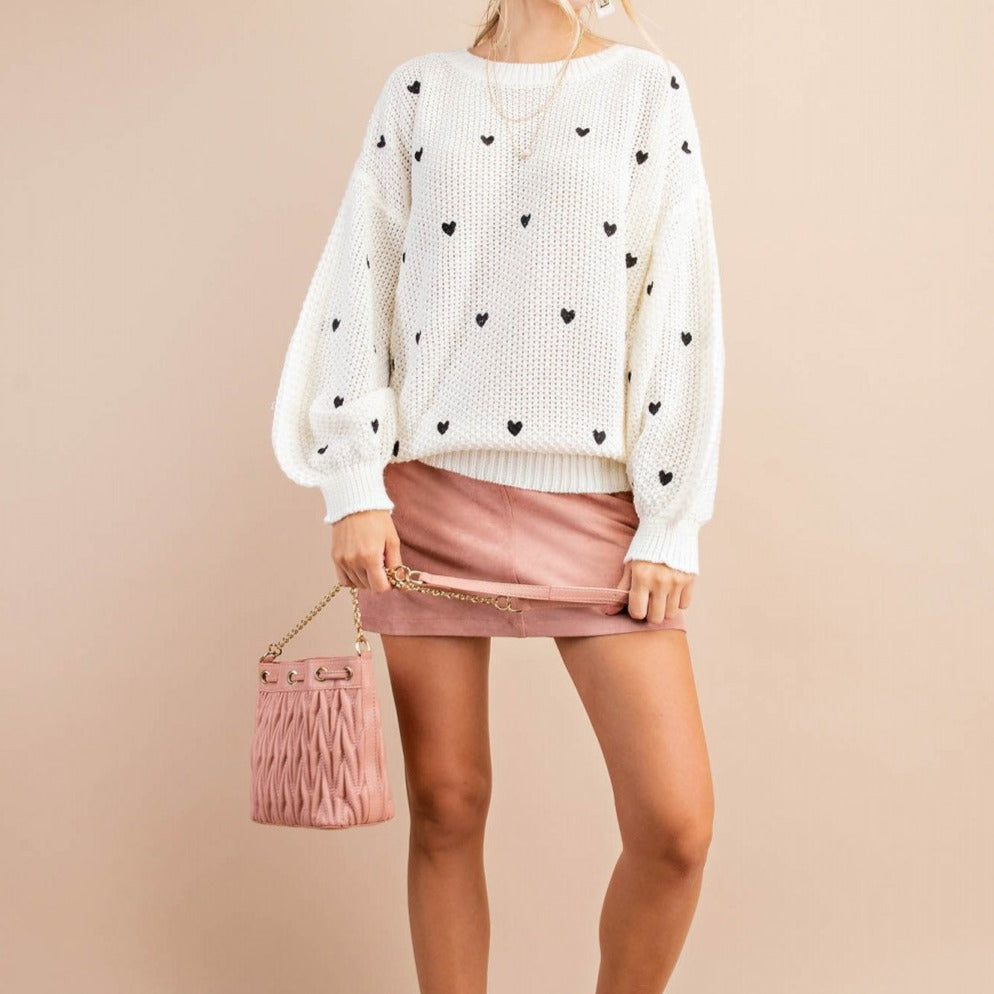 Queen of Hearts Ivory Sweater