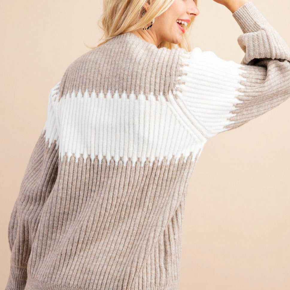 Latte Snuggle Ribbed Knit Sweater