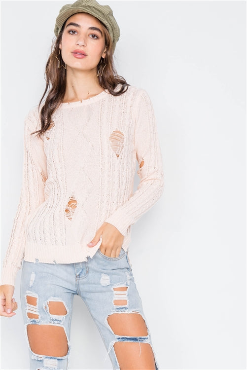 Staycation Distressed Cable Knit Sweater (Peach)