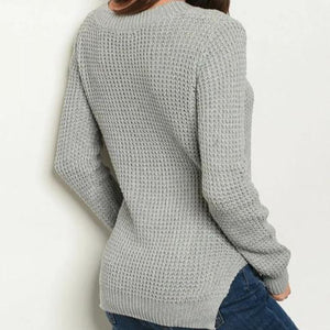 Lace-Up Waffle Knit Gray Sweater