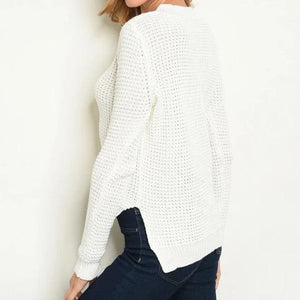 Lace-Up Waffle Knit White Sweater