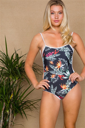 Bali Tropical Print One Piece Swimsuit