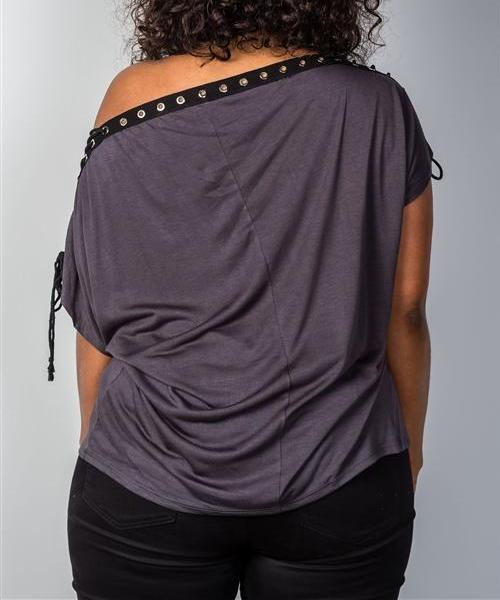 Lace-Up Neckline Top in Black (Plus)