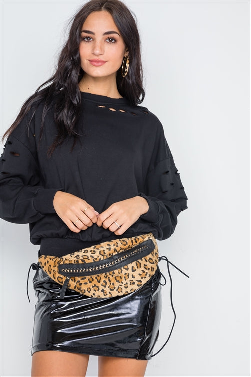 Wild Thing Faux Fur Leopard Chain Fanny Pack