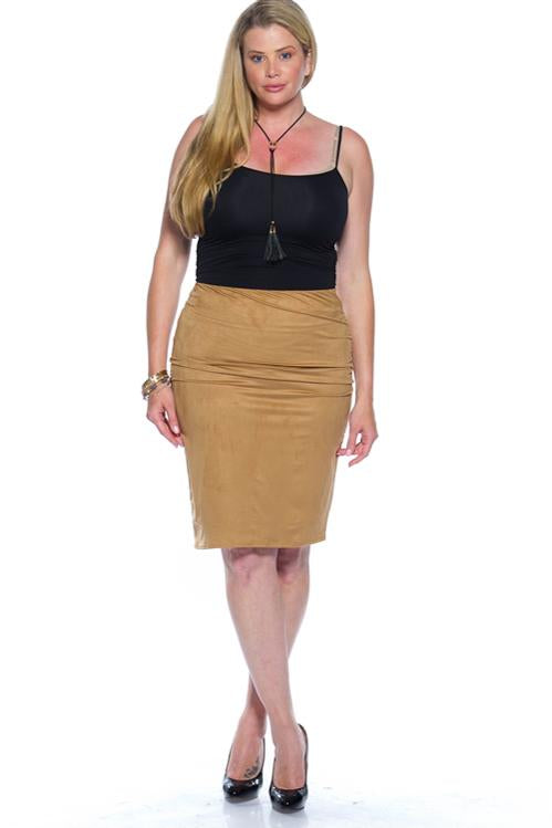 Suede Camel Bodycon Skirt (Plus)