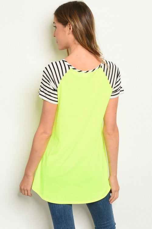 Voltage Stripe Neon Yellow Tie Tee