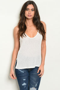 Good Vibes Knit Tank (White)