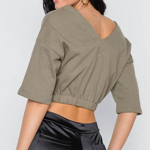 Dani V Neck Cotton Crop Top (Olive)