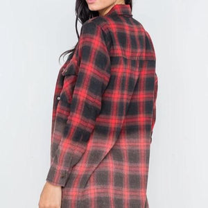 Lumberjack Black & Red Ombre Flannel Shirt Dress