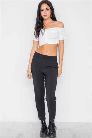 Ruched Off the Shoulder Crop Top (White)