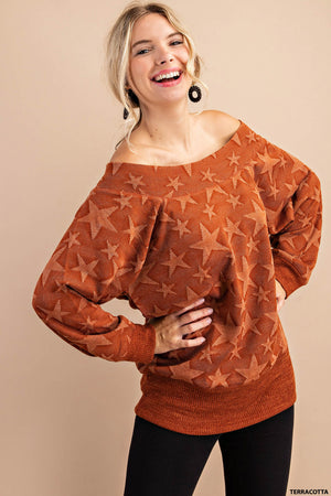 Seeing Stars Off the Shoulder Top (Rust)