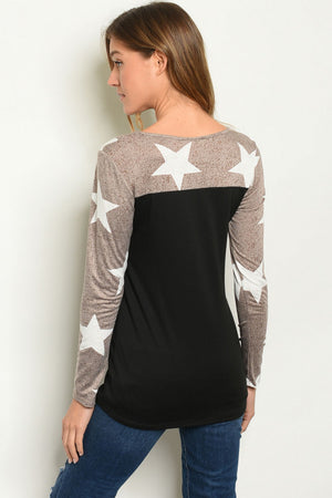 Super Soft Star Color Block Top