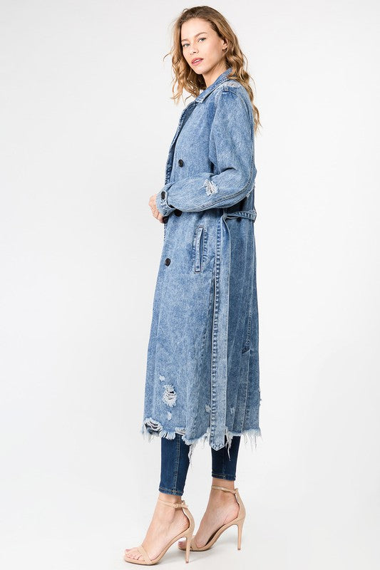 High Maintenance Distressed Denim Trench Coat