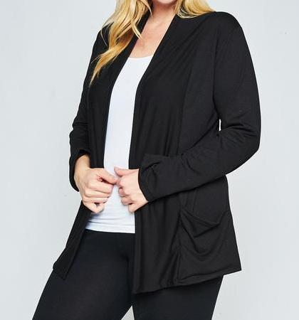 Open Front Pocket Black Cardigan (Plus)