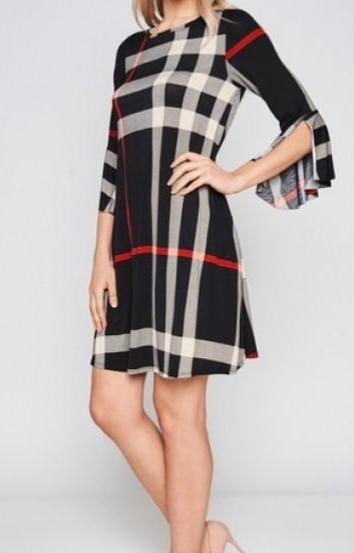 Black Plaid Split Sleeve Shift Dress
