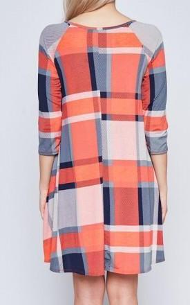 PLAID CROSS NECK POCKET SHIFT DRESS