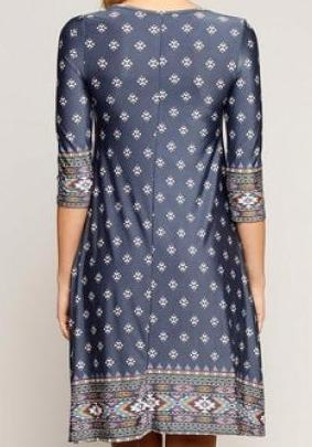 Tribal Print Cut-Out Shift Dress