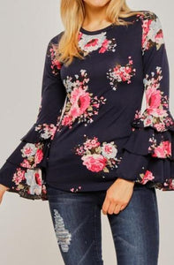 Ava Floral Ruffle Sleeve Top (Navy)