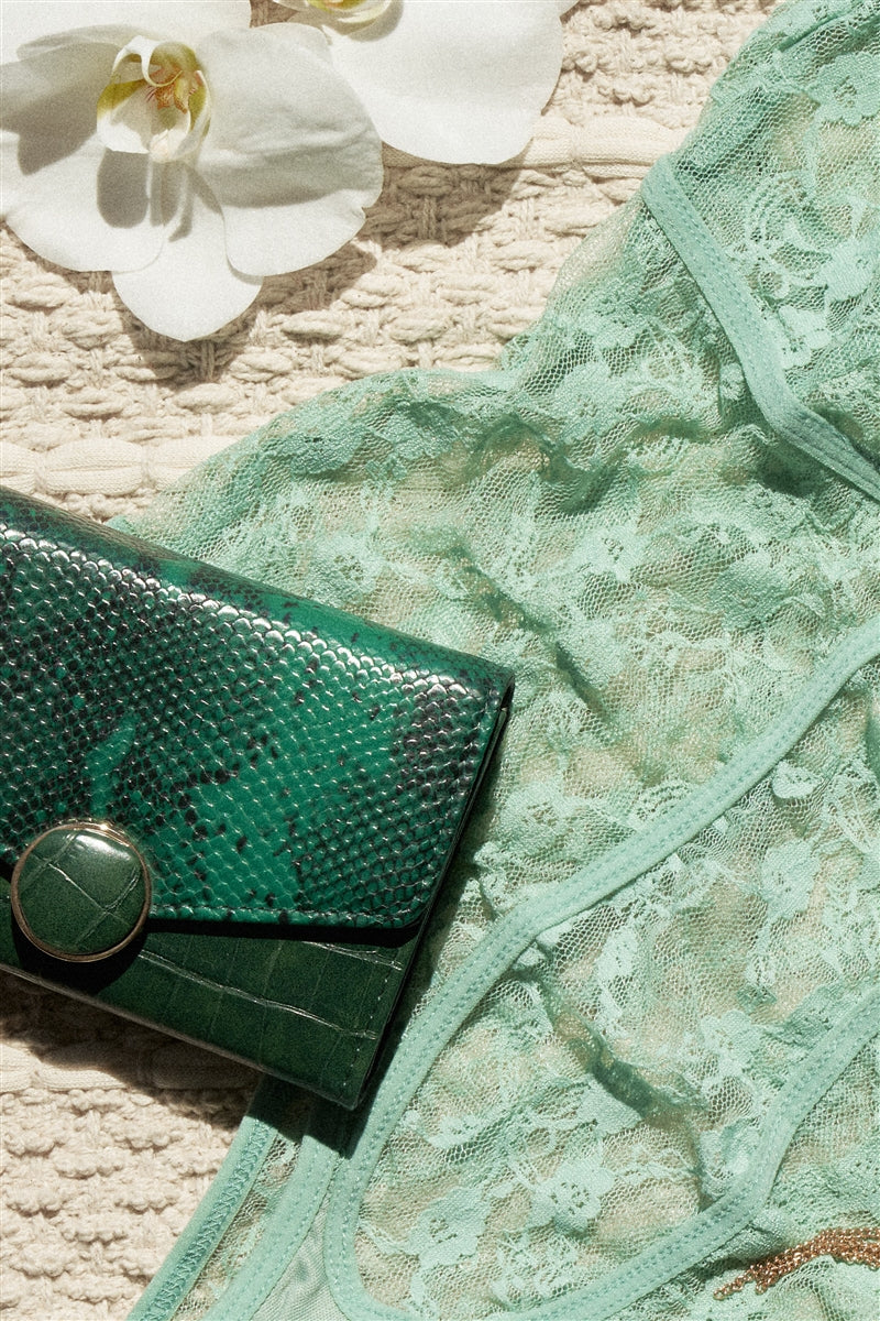 Green with Envy Faux Snake Skin Trifold Wallet
