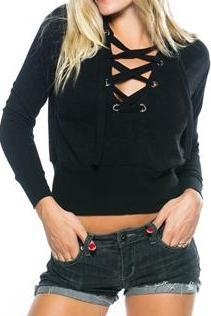 Lace Up Cropped Sweater