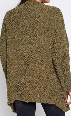 UNFORGETTABLE SOFT POPCORN KNIT CARDIGAN (OLIVE)