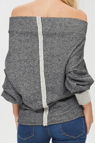Gray Marled Off the Shoulder Sweater