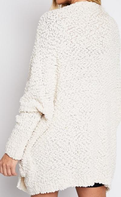 UNFORGETTABLE SOFT POPCORN KNIT CARDIGAN (IVORY)