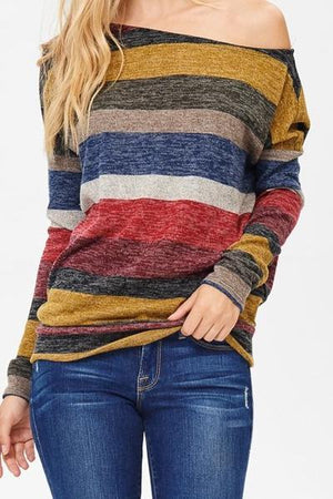 Marled Stripe Off the Shoulder Sweater