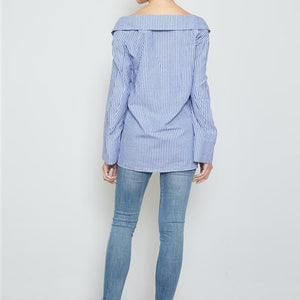 Hayley Off the Shoulder Blue Button Down Top