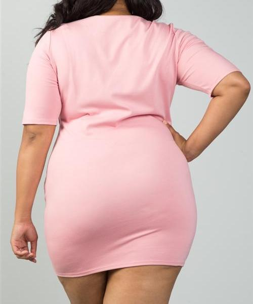 CENTER OF ATTENTION PINK BODYCON PLUS SIZE DRESS