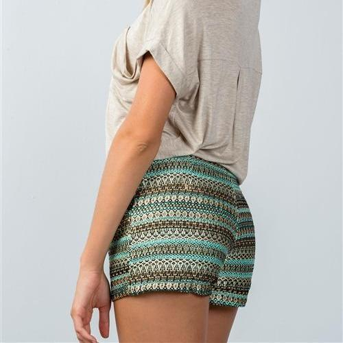 Cleopatra Metallic Green & Gold Woven Shorts