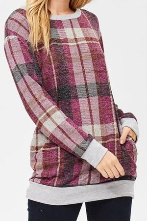 Plaid Tartan Sweater With Pockets