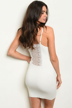 Luxe Lace Ribbed Bodycon Mini Dress