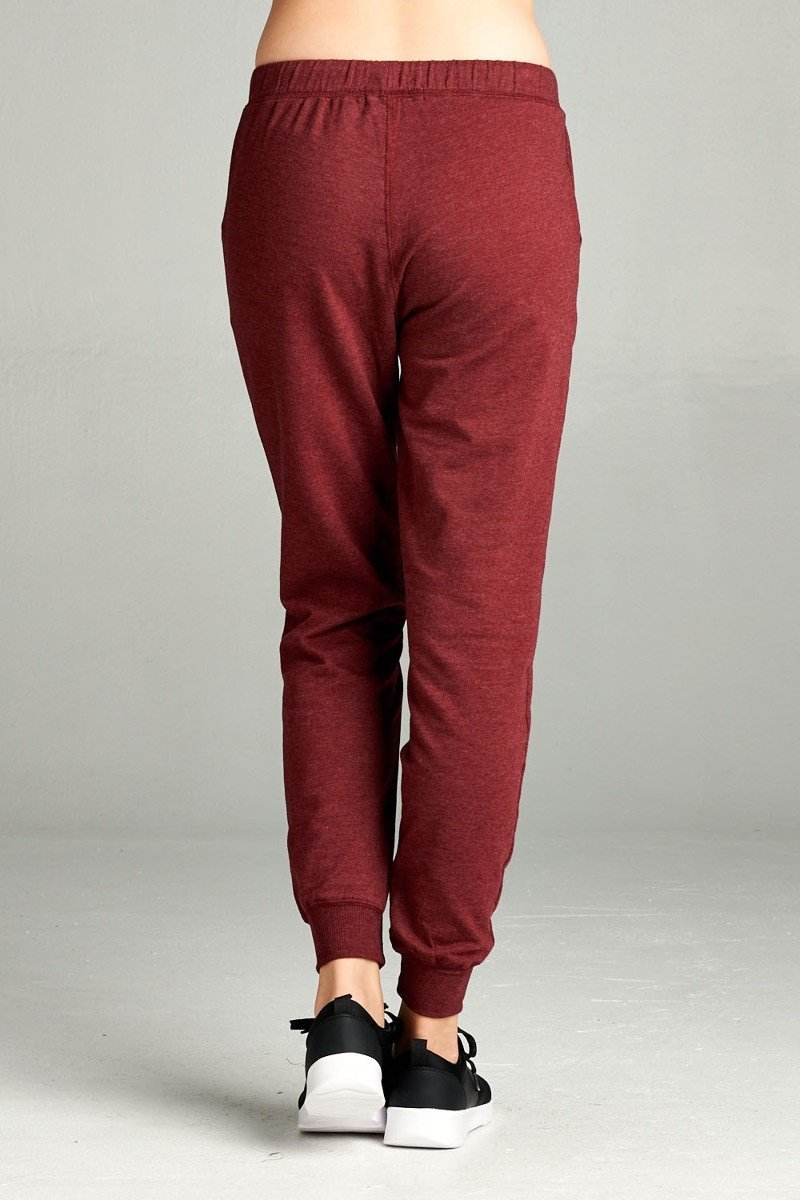 FRENCH TERRY DRAWSTRING JOGGERS (BURGUNDY)