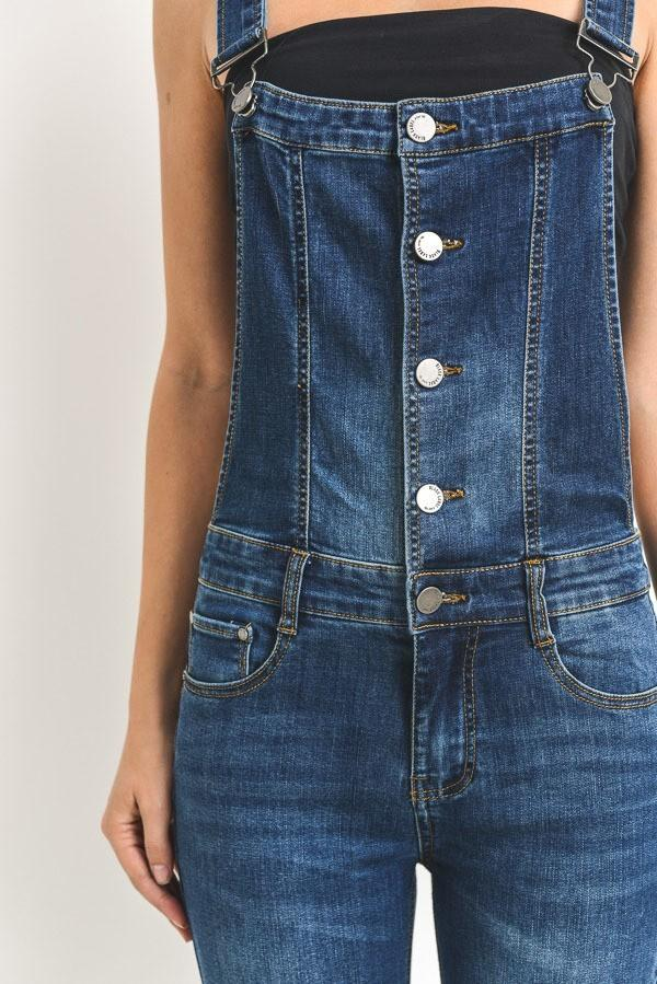PREMIUM BUTTON-UP RACERBACK DENIM OVERALLS