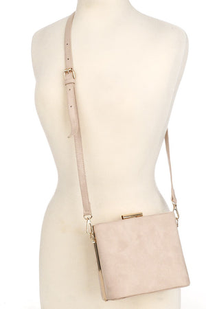 Lana Vegan Suede Box Clutch/Crossbody (Pink)