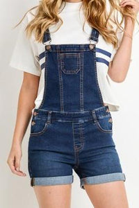 PREMIUM STRETCHY DENIM OVERALL SHORTS