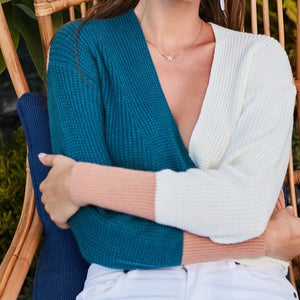 Autumn Twist Color Block V Neck Sweater (Teal)