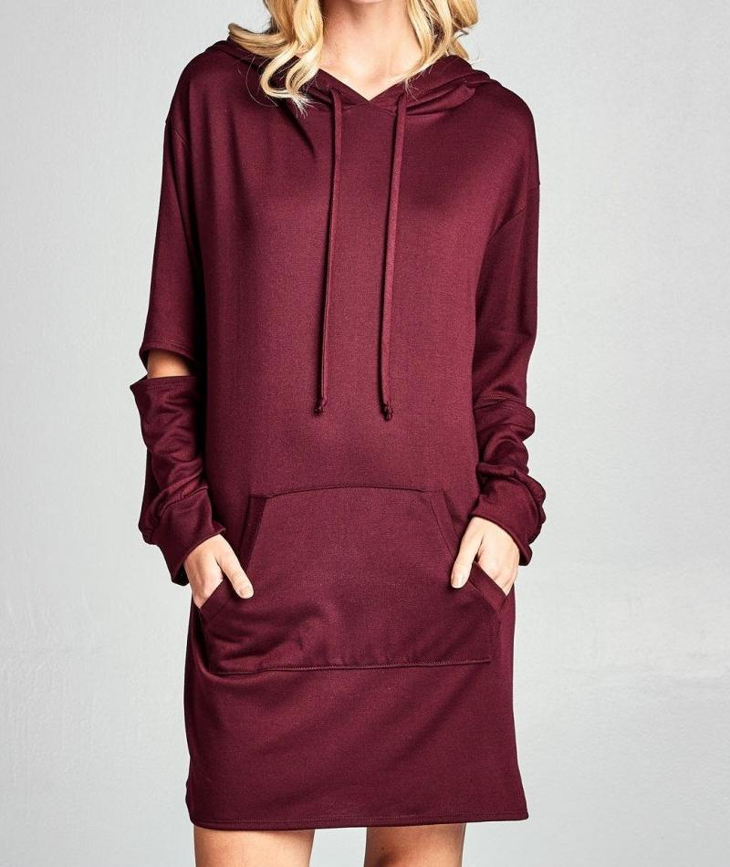 LUXE LEISURE SPLIT ELBOW SWEATSHIRT HOODIE DRESS