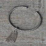 BEADED TASSEL BANGLE (SILVER)