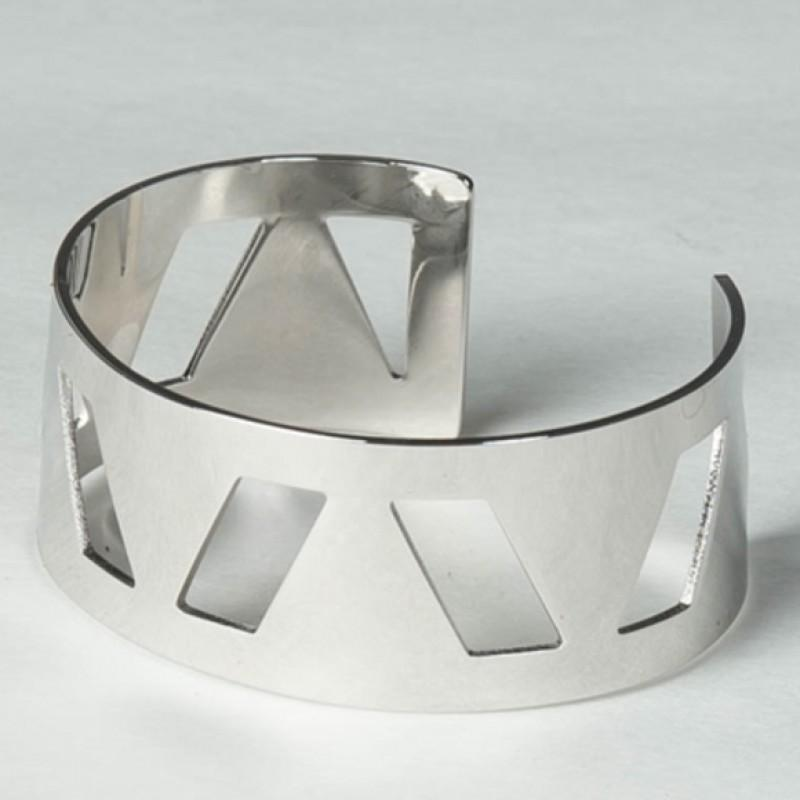 Geo Cut-Out Bangle (Silver)